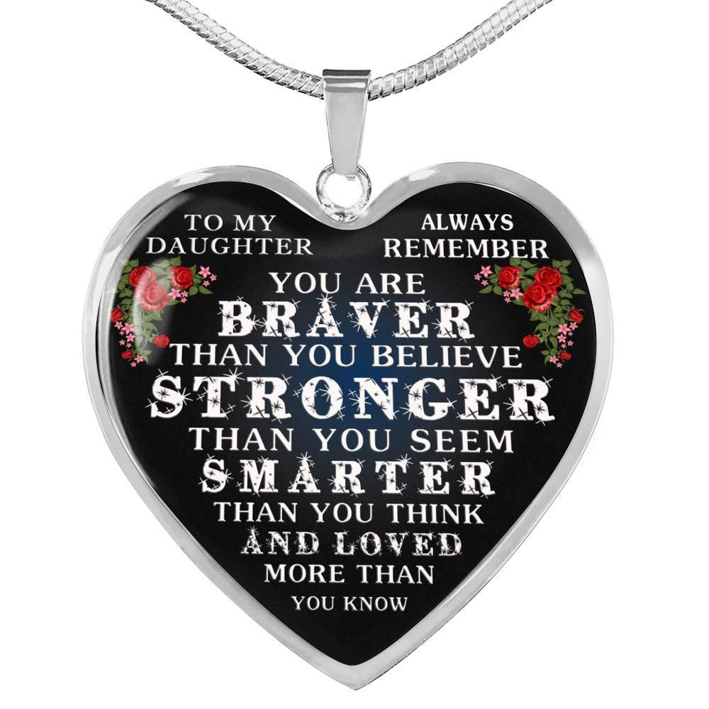 Teenagers Father and Daughter Necklaces Christmas Birthday Gifts for Little Girl You are Braver Than You Believe Nice Necklace from Dad New Daughter Heart Pendant