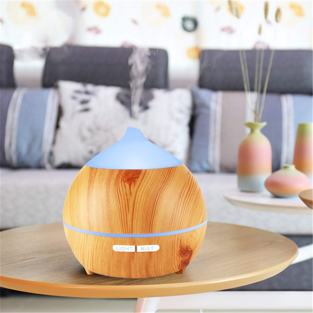 Essential Oil Diffuser XFelectronics 2 pack 250ml Diffusers for Essential Oils Wood Grain Aromatherapy Diffuser Ultrasonic Humidifier with Waterless Auto Shut off, 7 Colors Light for Home Office Baby by Xfelec (Image #8)