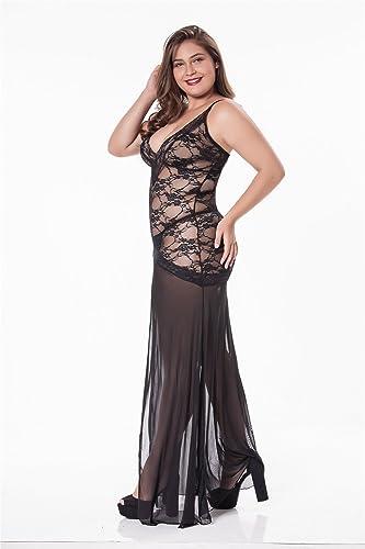 Amazon.com: LINGERLOVE Vestido largo largo de lencería sexy ...