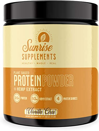 Vanilla Chai Plant Based Protein Powder, Hemp Extract, 4 Plant Based Protein Sources, Non GMO, Nutrient Rich,15 Serving tub – by Sunrise Supplements