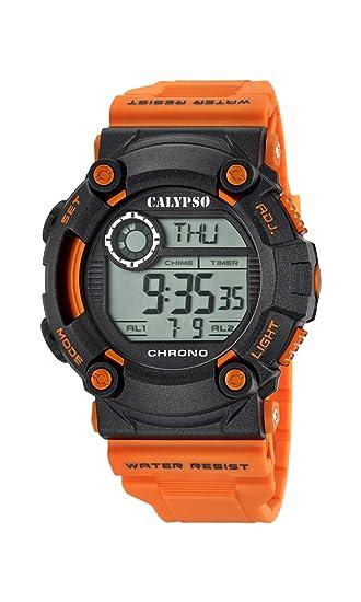 Calypso Hombre Reloj Digital con Pantalla LCD Pantalla Digital Dial y Correa de plástico Naranja k5694/4: Calypso: Amazon.es: Relojes