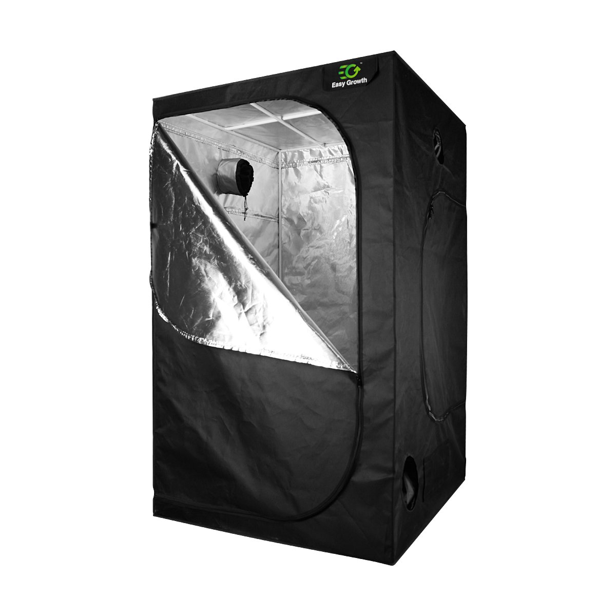 EasyGrowth 48''x48''x80'' Reflective Mylar Hydroponic Grow Tent with Waterproof Floor Tray for Indoor Plant Growing