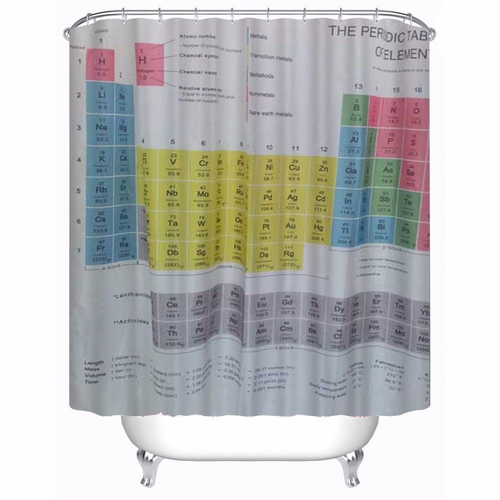 Periodic table of elements Polyester-Fabric Shower Curtain /& 12hooks 180*180cm