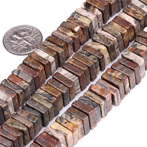 Jasper Multi Strand - Natural Square Picasso Jasper Gemstone Loose Beads In Bulk For Jewelry Making Wholesale Beads One Strand 15 1/2