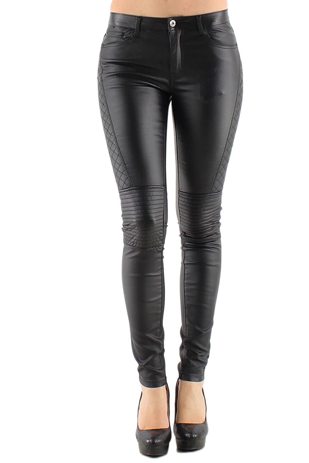 Women&39s stretch Leather look Jeans Trousers Slim Skinny Dark Red