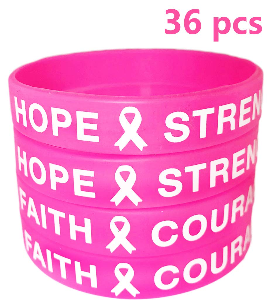 AISENO Breast Cancer Awareness Pink Ribbon Bracelets Rubber Wristbands, 36 Pieces Unisex