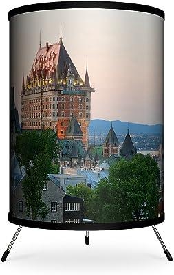 "Lamp-In-A-Box TRI-FAR-SQQUE Featured Artist-Songquan Deng Quebec City At Dusk During Winter Tripod Lamp, 7"" x 7"" x 12"""