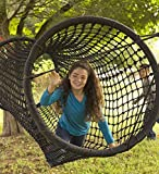 HearthSong Rope Tunnel Bridge - Includes 2 Heavy Duty Ratchets - Kids Outdoor Backyard Playground Climbing Equipment - 8 ft Long x 35'' W - Black