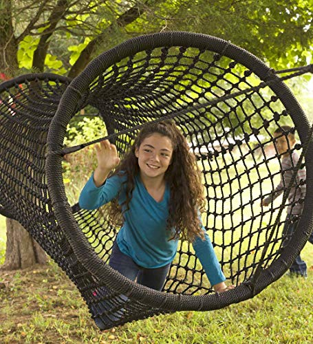 HearthSong® Rope Tunnel Bridge - Includes 2 Heavy Duty Ratchets - Kids Outdoor Backyard Playground Climbing Equipment - 8 ft Long x 35'' W - Black ()