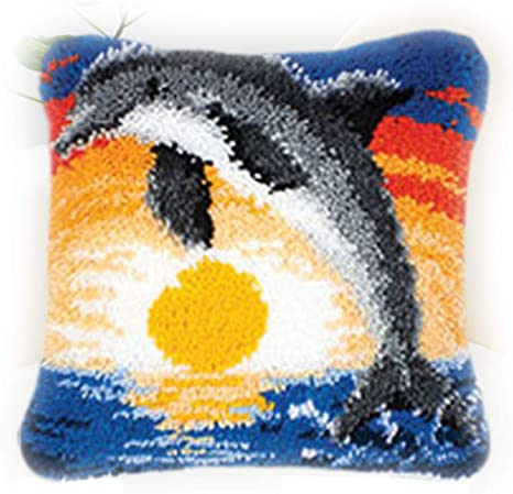 Blue owl MLADEN Latch Hook Kits for DIY Throw Pillow Cover Sofa Cushion Cover Embroidery Shaggy Decoration Family Gift and Activity 17 X 17