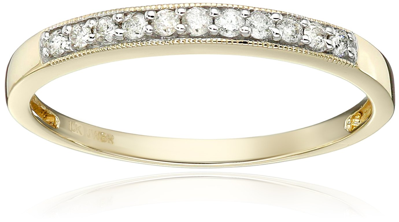 10k Yellow Gold Diamond Anniversary Ring (1/6 cttw, I-J Color, I2-I3 Clarity), Size 7