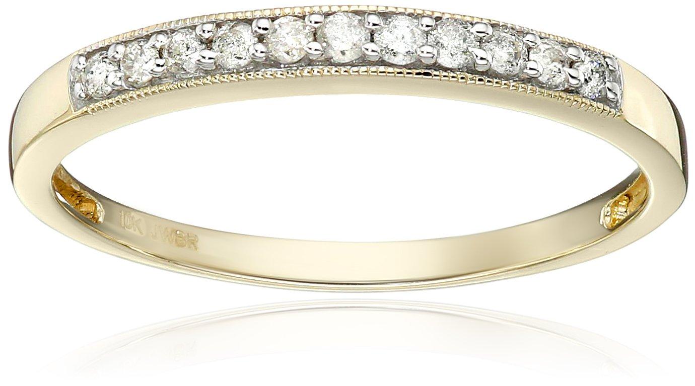 10K Yellow Gold Diamond Anniversary Ring (1/6 cttw), Size 8