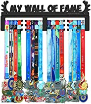 BORNTOWIN My Wall of Fame Medal Holder Display Hanger Rack,Sturdy Black Steel Metal,Wall Mounted Over 50 Medal