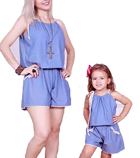 4bbd84421490 Amazon.com  Mother Daughter Matching Clothes Casual Boho Maxi Jumpsuit  Sleeveless Top Pants Outfit Set Romper Clothes (Blue