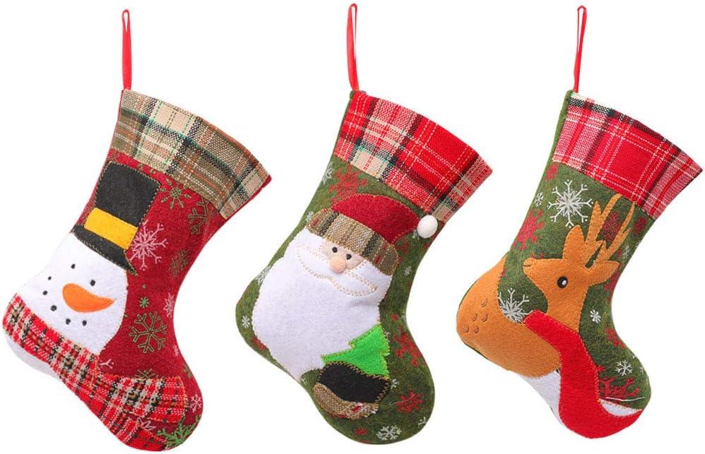 Reno HPiano Decoraci/ón Colgante Calcet/ín de Navidad Santa Mu/ñeco de Nieve Creativos Calcetines Decorativos Decoraci/ón Fiesta De Navidad Suministros de Fiesta Medias Colgantes para Navidad