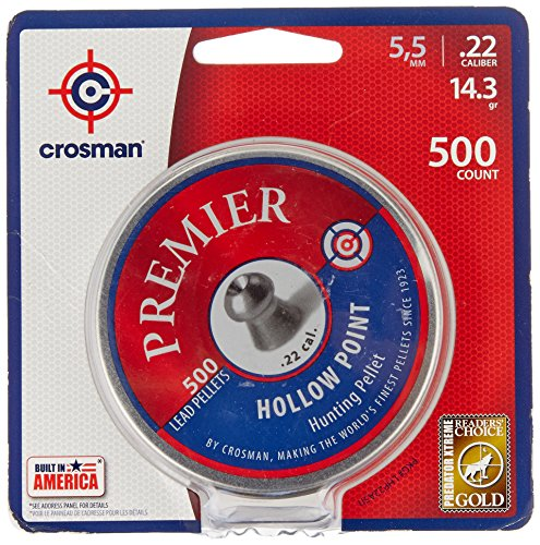 Crosman Premier Hollow Point Pellet .22 cal, 14.3 Gr., 500 count (Rifle 22)