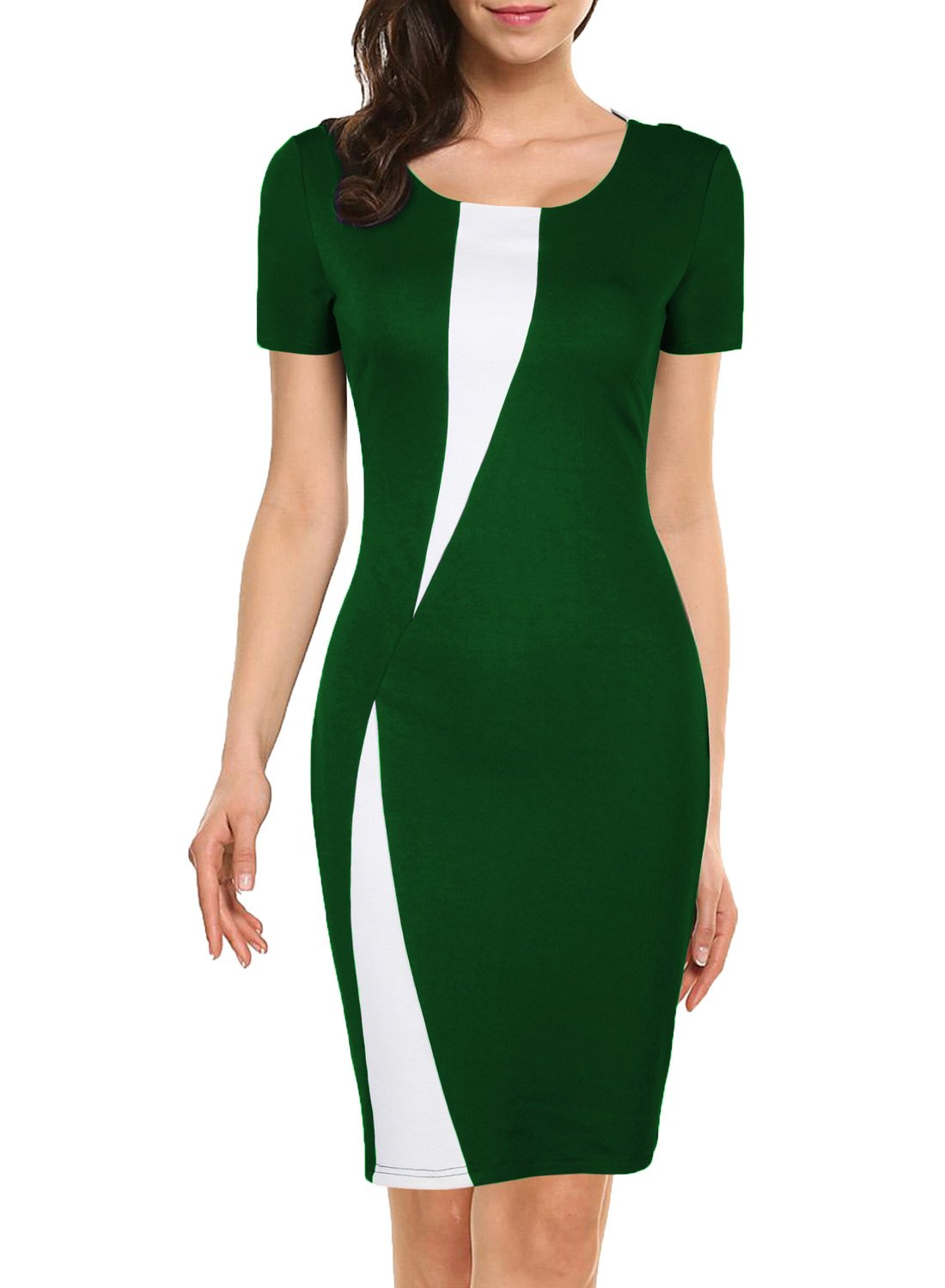 WOOSEA Women's Short Sleeve Colorblock Slim Bodycon Business Pencil Dress (X-Large, Green+White)