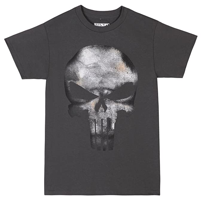 433596c19 Marvel The Punisher Skull Logo No Sweat Adult T-Shirt - Charcoal (Small)