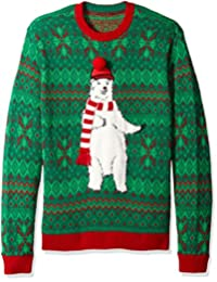 Blizzard Bay Mens Polar Bear Scarf Crew Neck Ugly Xmas Suit Jacket