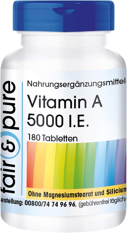 Vitamina A 5000 U.I. - Acetato de Retinol - Vegano - Alta pureza - 180 Comprimidos