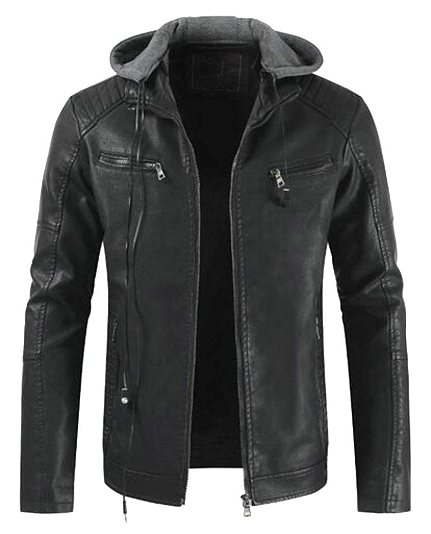 YYG Mens Faux Leather Moto Winter Faux Fur Lined Hooded Quilted Jacket Coat Outerwear
