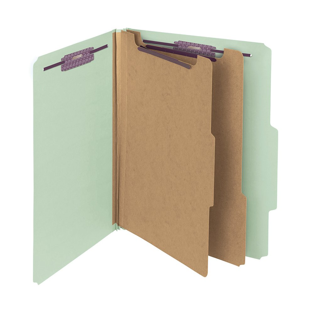 Smead Pressboard Classification File Folder with SafeSHIELD Fasteners, 2 Dividers, 2'' Expansion, Letter Size, Gray/Green, 10 per Box  (14076)