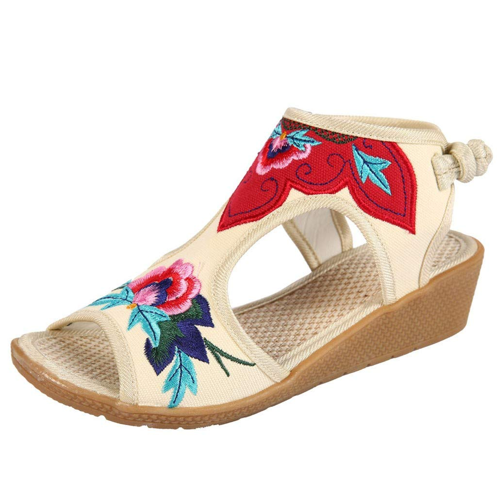 Women Sandals Retro National Flora Embroidered Wedges Shoes Casual Cut-Out Knot Back Peep Toe Platform Sandal (White, US:5)