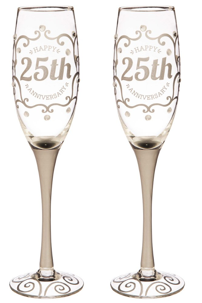Cypress Home 25th Anniversary Champagne Flutes, 8 ounces, Set of 2