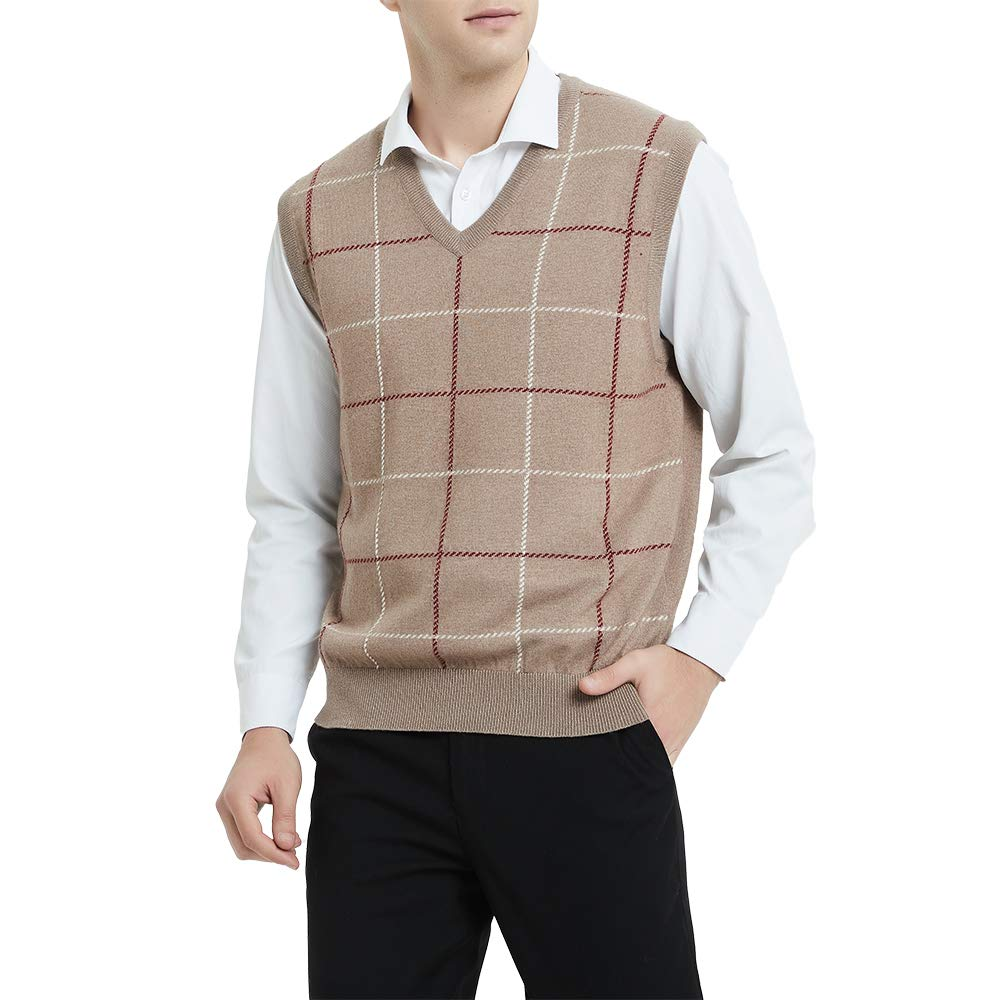 Kallspin Relaxed Fit Mens V-Neck Vest Knit Cashmere Sweater (Coffee, XL) by Kallspin