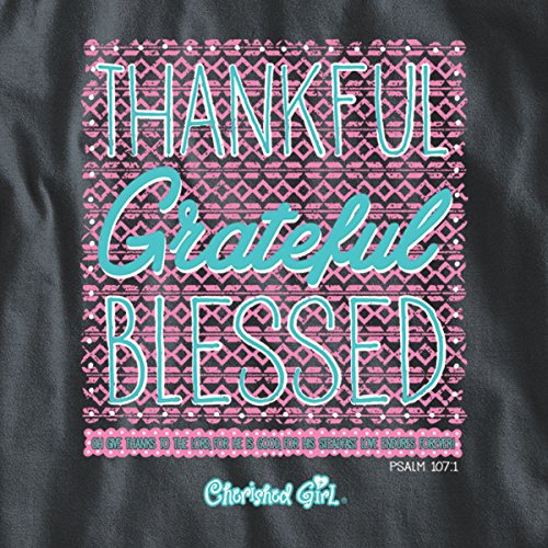 7893f99a3 Cherished Girl Thankful Grateful Blessed Long Sleeve T-Shirt - Christian  Fashion Gifts Charcoal Grey
