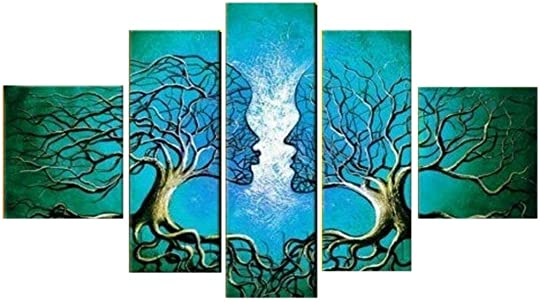 Unixtyle-100 Hand Painted Oil Painting on Canvas Blue Lovers Tree Kiss Wood Framed on the Back Abstract Landscape Wall Art Painting Ready to Hang Modern Home Decoration 5 Pcs set