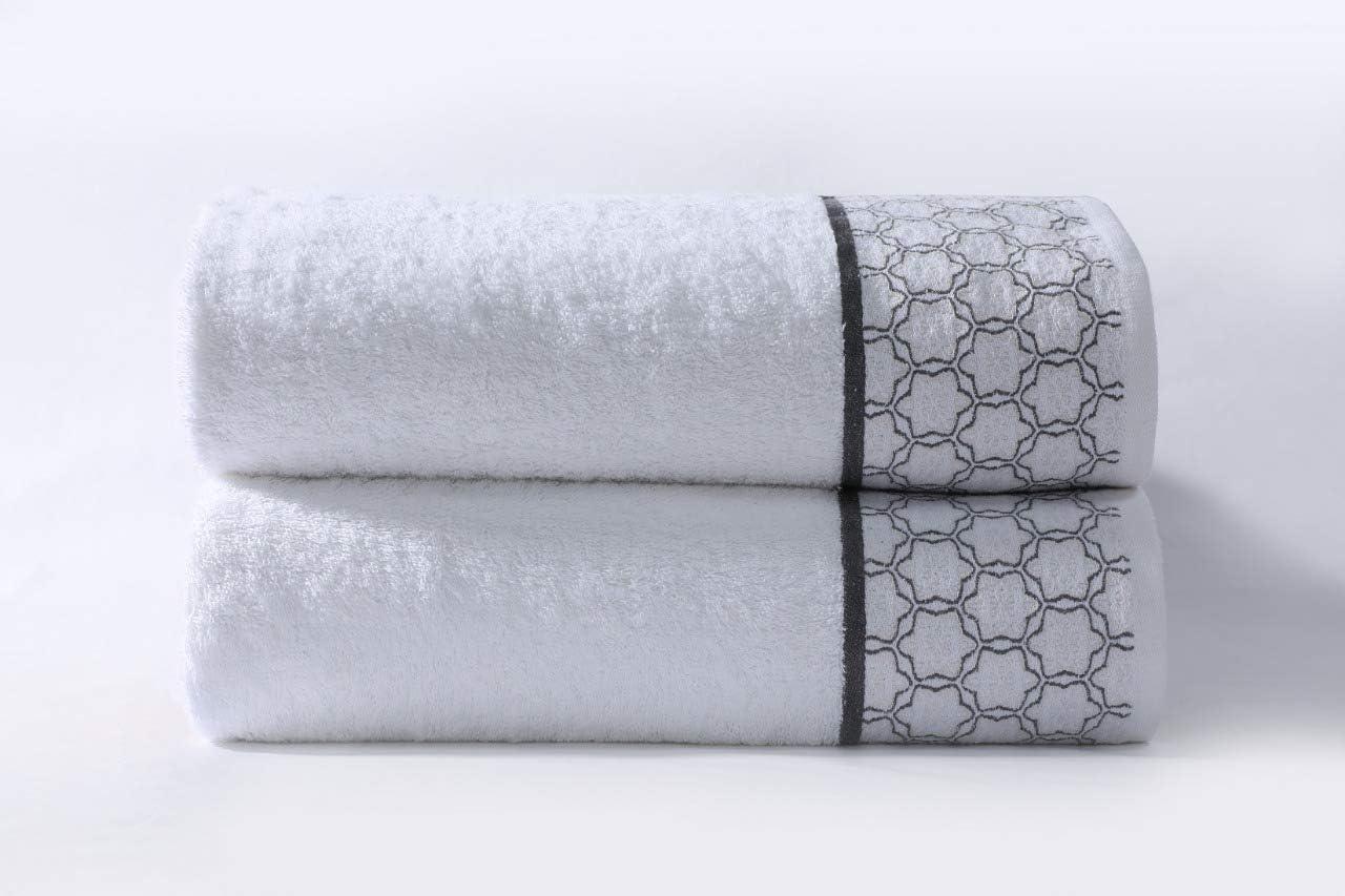 Cloe Louis - Juego de 2 Toallas de baño (algodón Peinado Puro, 550 g/m², 70 x 130 cm, con Borde de Jacquard, Suaves, Lavables a máquina), Blanco, Toalla de baño: Amazon.es: Hogar