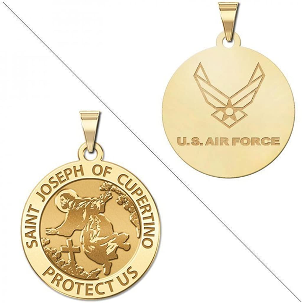 PicturesOnGold.com Saint Christopher Doubledside AIR Force Religious Medal 3//4 Inch Solid 14K Yellow Gold