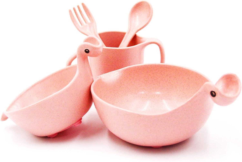 JAMOR Wheat Fiber Food Bowl Dinosaur Shape Children's Food Bowl Wheat Straw Tableware Children's Fruit Plate Dinosaur Food Bowl Cutlery Set (5-Piece Set, Pink)
