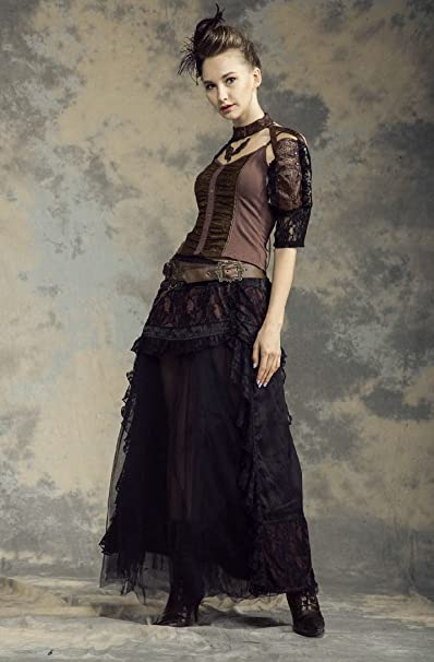 Steampunk Skirts | Bustle Skirts, Lace Skirts, Ruffle Skirts HaoLin Steampunk Fashion Victorian Punk Prom Dresses Bridesmaid Dresses Maxi Dresses $56.55 AT vintagedancer.com