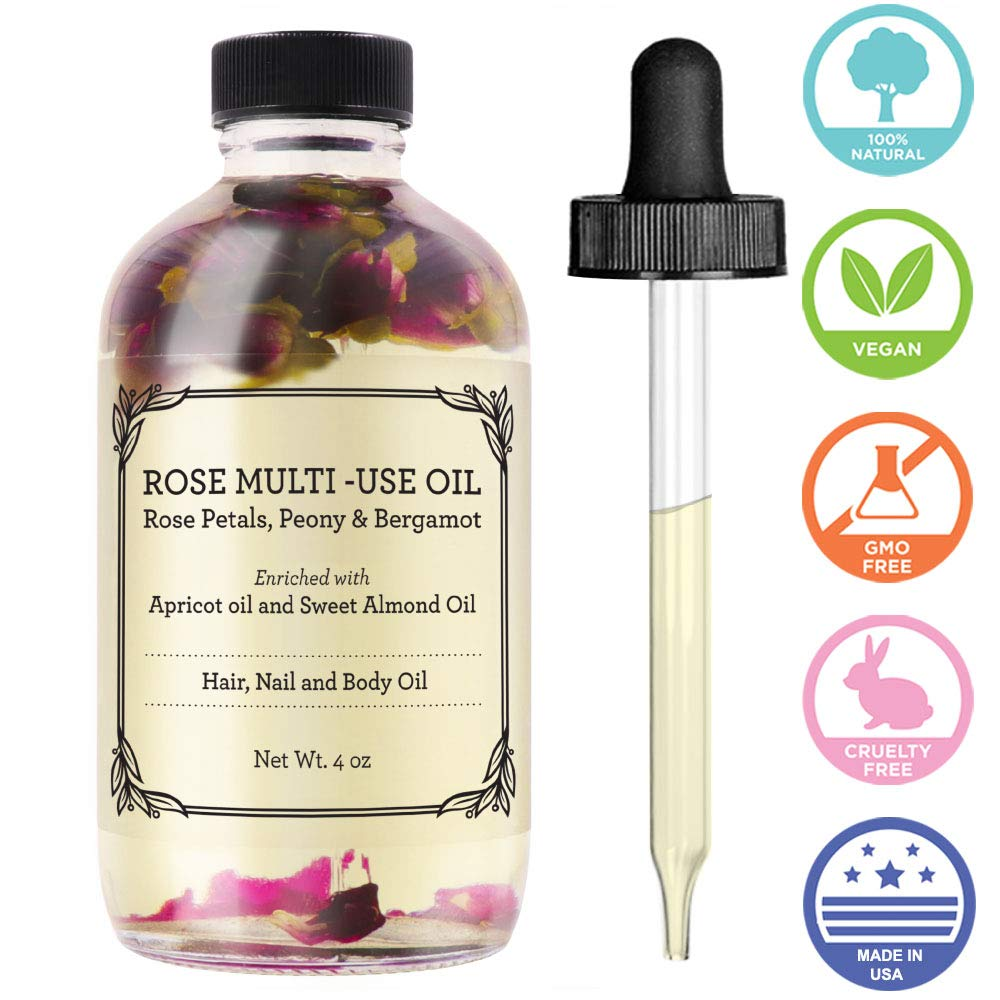 Rose Multi-Use Oil for Face, Body & Hair - Hydrates Skin & Restores Hair's Natural Shine - Rose Petals, Peony & Bergamot - Enriched with Apricot Oil, Sweet Almond Oil & Fractionated Coconut Oil - 4OZ by Provence Beauty