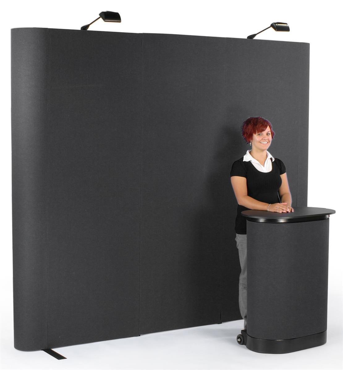 Displays2go Pop Up Display Straight 8-Feet Wall - Black Velcro Receptive Fabric with End Caps (TEPUV8KSE)