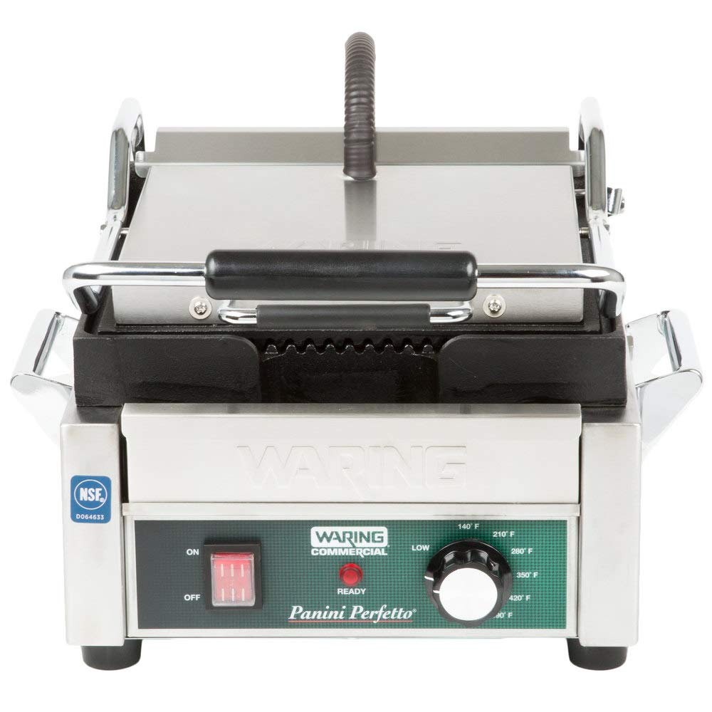 """TableTop King WPG150 Panini Perfetto Grooved Top & Bottom Panini Sandwich Grill - 9 3/4"""" x 9 1/4"""" Cooking Surface - 120V, 1800W 61C9nX0U-BL._SL1000_"""