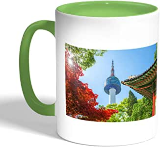 Chinese Landmarks Printed Coffee Mug, Green Color