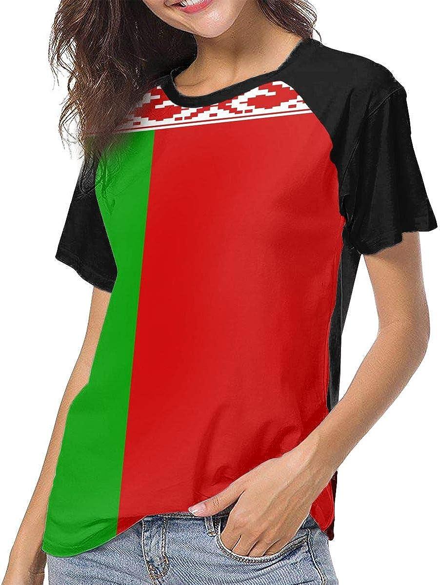 IRON1974 Womens Flag of Belarus Short Sleeve T-Shirt Baseball Tees