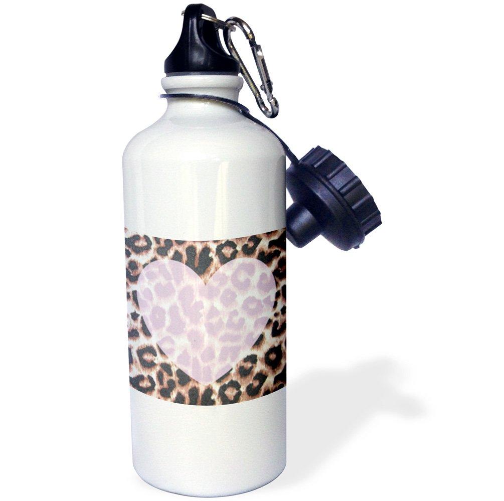 3dRose wb_30875_1''Love Pink Heart Leopard Print Animal Prints'' Sports Water Bottle, 21 oz, White by 3dRose