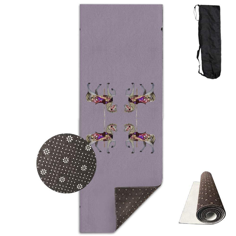 70Inch Long 28Inch Wide Comfort Velvet Yoga Mat, Carousel Horse Lavender Mat Carrying Strap & Bag