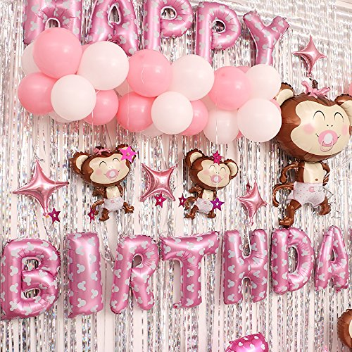 Cartoon Monkey Baby Birthday Party Balloon Set Birthday Party Arrangement Hotel Background Wall Dress Up (Pink(girl))