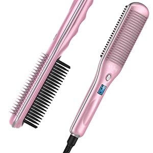 Rifny Hair Straightening Brush, Heated Hair Straightener brush Comb with Auto Temperature Lock 3 Heat Levels Anti Scald, 30S Fast Ceramic Heating Straightening Brush for Home, Travel and Salon (S10B)