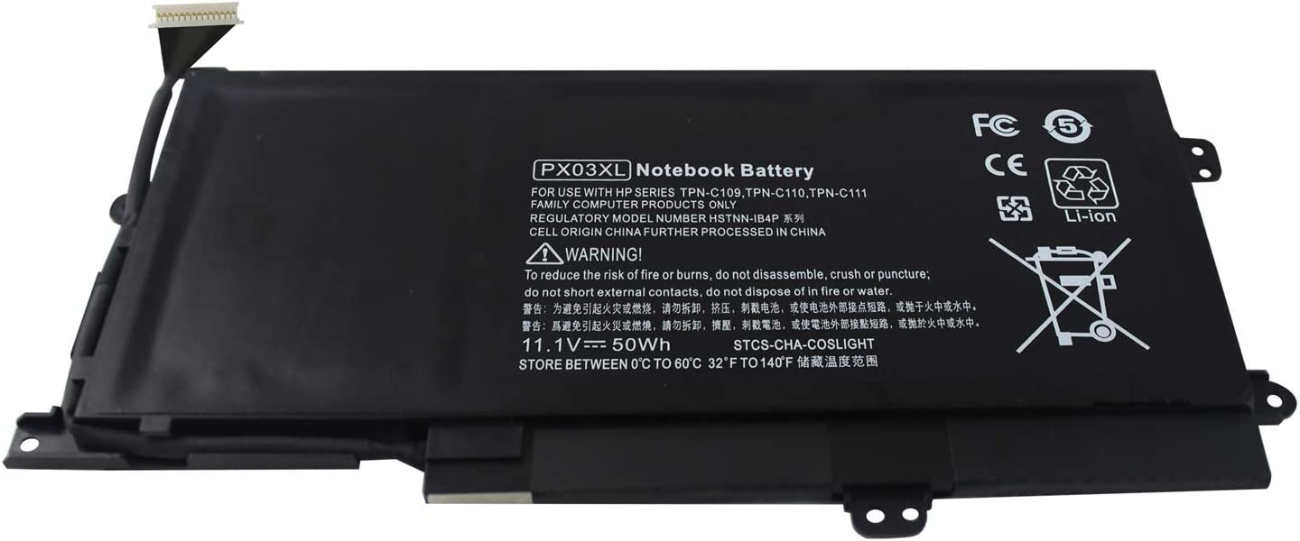ROCKETY PX03XL Notebook PC Battery for HP Envy 14 Touchsmart M6 Series m6-k022dx m6-k025dx m6-k125dx m6-k010dx M6-K010DX m6-k012dx m6-k015dx m6-k002TX 715050-001 Tpn-c109 Tpn-c110 Tpn-c111 Laptop.