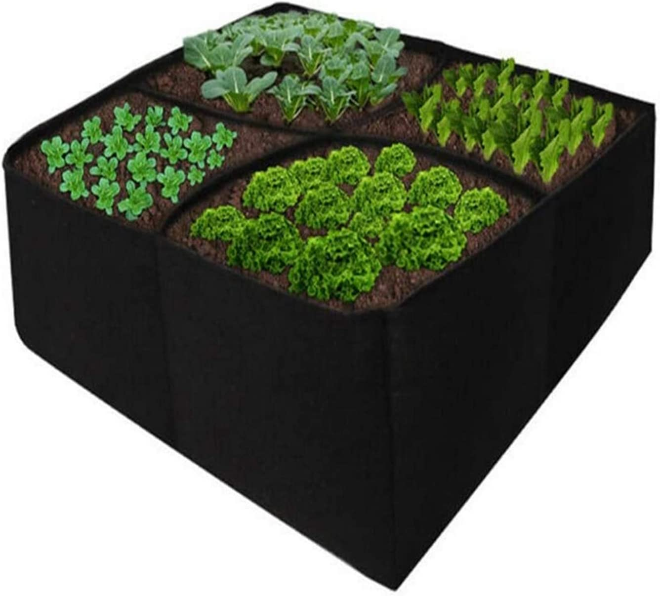 Elevated Garden Bed, Divided Into 4 Grids Fabric Elevated Planting Bed, Square Garden Planting Bag, 2 feet x 2 feet