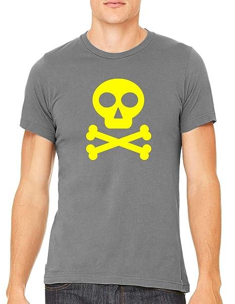 49526d445b68 Yellow Skull Crossbones Icon Unisex Premium Crewneck T-Shirt Tee, Asphalt XS