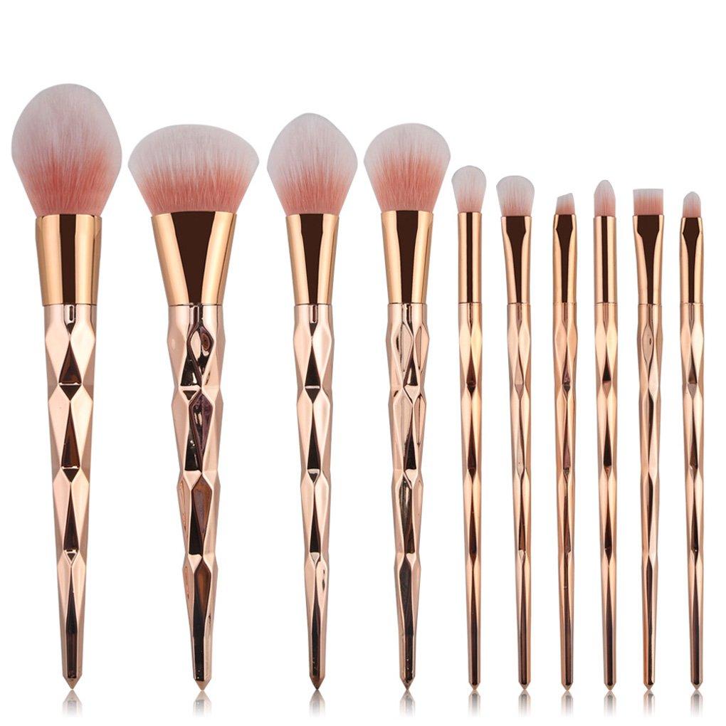 Tenmon 10 Pcs Rose Gold Makeup Brush Set Professional Unicorn Shiny Gold Diamond Makeup Brush Set Professional Foundation Powder Cream Blush Brush Kits (Green)