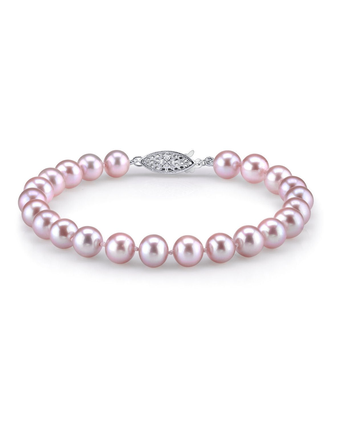 THE PEARL SOURCE Sterling Silver 7-8mm AAA Quality Round Pink Freshwater Cultured Pearl Bracelet for Women by The Pearl Source