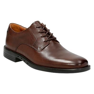 Clarks Men s Un.Bizley Plain Oxfords Shoes Dark Brown Leather 10.5 EE - Wide